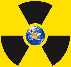 Radiation symbol around the Earth